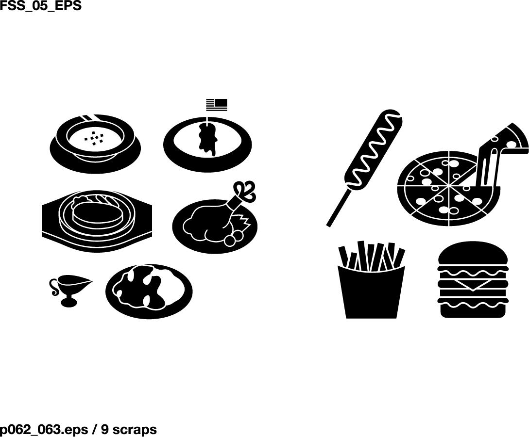 様々な食材のシルエット various elements of vector silhouette food category イラスト素材1