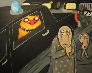 Authority former gangster looks out of car window on scared old women, cat, funny pictures, comics