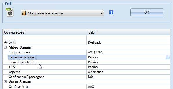 Outras configurações do FormatFactory
