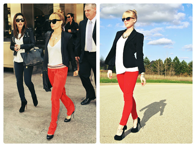 Nicole Richie, celebrity style, celebrity style steal, black white and red outfit, how to wear a blazer