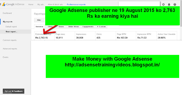 Google Adsense publisher ko 19 August 2015 ko 2763 rs ka earning hua hai-screenshot
