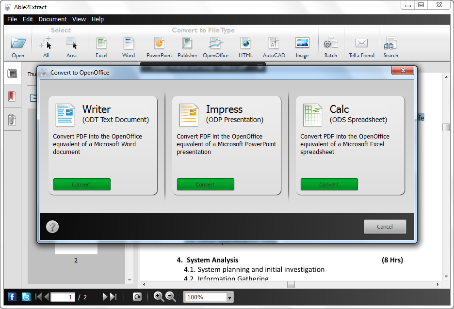 Able2extract v8 view and convert pdf file to word excel powerpoint images - Open office convert to word ...