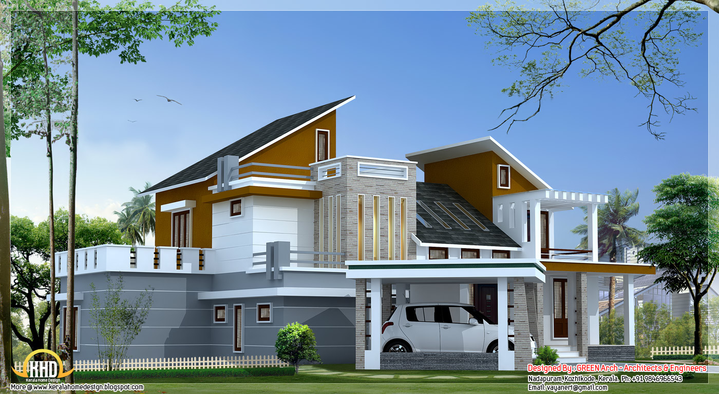 4 bedroom contemporary villa elevation 2500 sq ft for Small villa plans in kerala