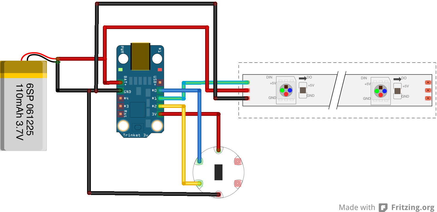 Slickstreamer Led Bracelet Accelerometer 3dprinting Wearable Sensor Schematic Diagram I Use Pin 1 And Connect 5v To The Battery Positiv Grd Negativ 0 For Sda 2 Scl