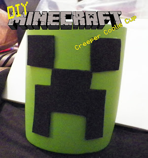 Minecraft Creeper Coolie Cup. Property of Cassie's Creative Crafts