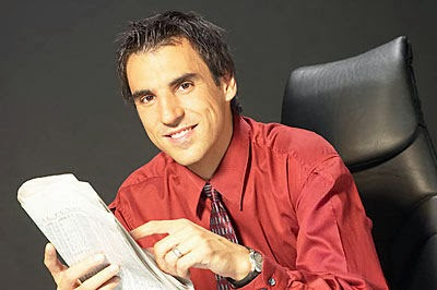 business man with newspaper in hand