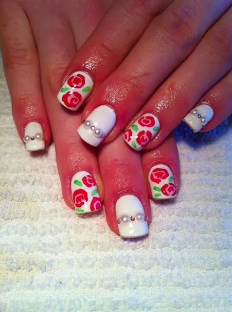 acrylic backfill; LED polish manicure  hand drawn roses with pearls and clear crystal feats I named this design Chantilly Roses  nail French Nails acrylic backfill LED polish  Pedicure Gel-Nails-Polish-LED