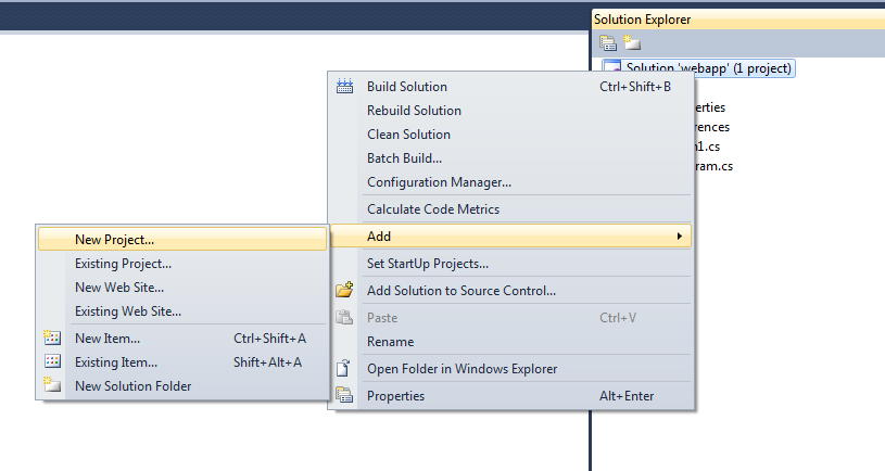 Add new project in vs 2010