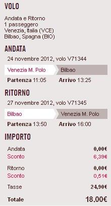volo Venezia Bilbao Volotea lowcost