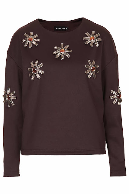 burgundy embellished jumper