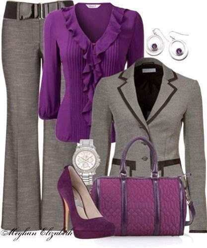 Grey Blazer, purple dress, pants, purple handbag and high heel sandals