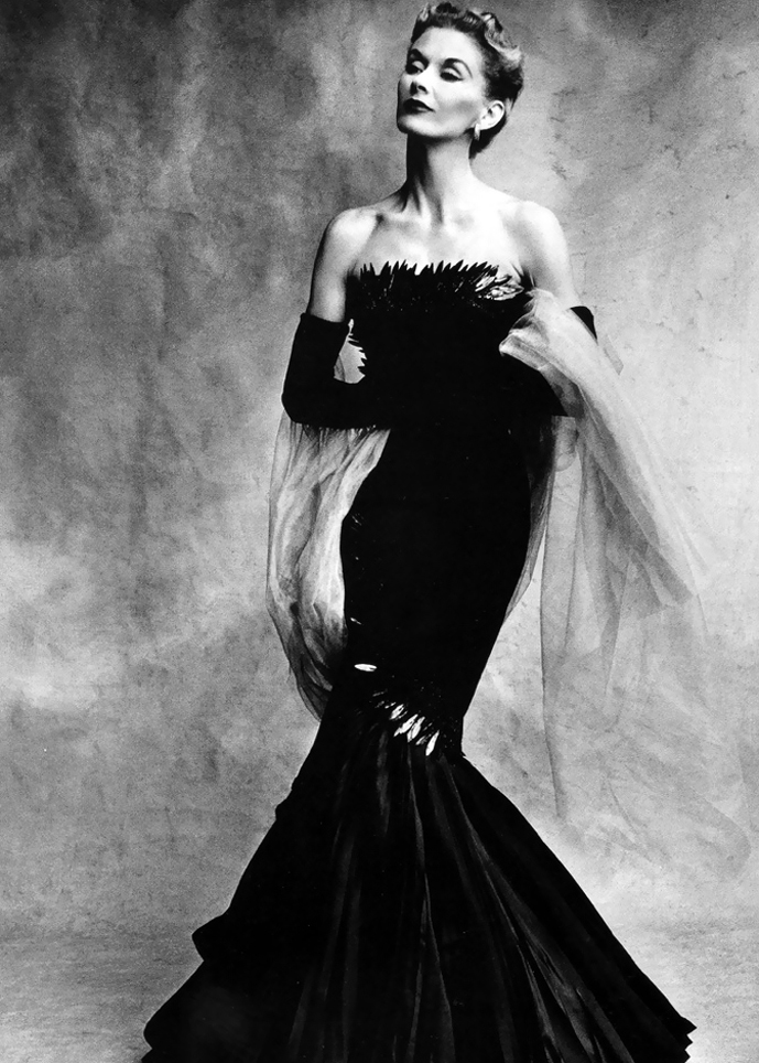 Lisa Fossagrives wearing Marcel Rochas Sirene dress photographed by Irving Penn for Vogue US September 1950 via www.fashionedbylove.co.uk