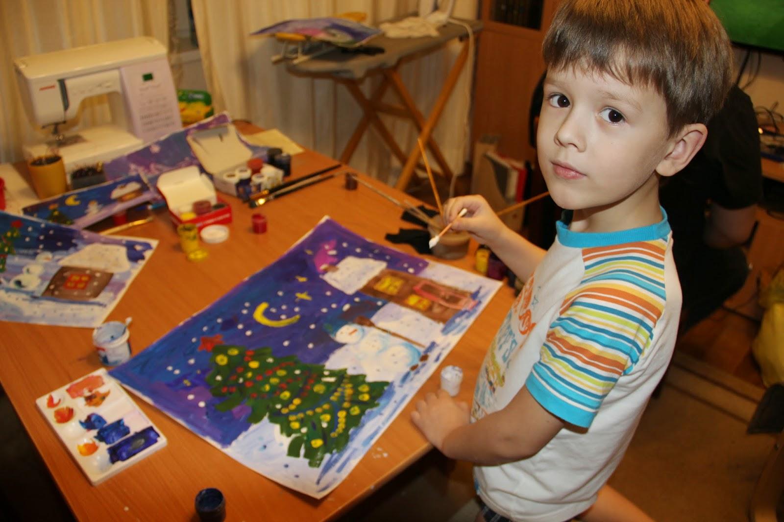 новогодний рисунок гуашью с детми для детского садика