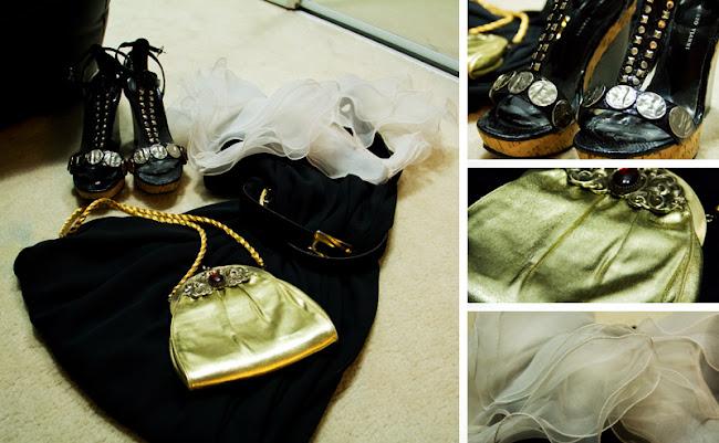 white layered chiffon sleeves, vintage black dress, vintage gold detail belt, Roberto Vianni sandals