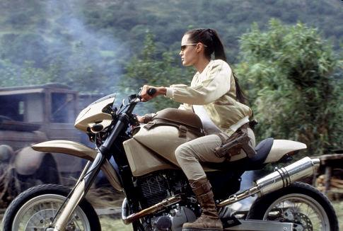 Angelina Jolie on a motorcycle in Lara Croft Tomb Raider: The Cradle of Life movieloversreviews.blogspot.com