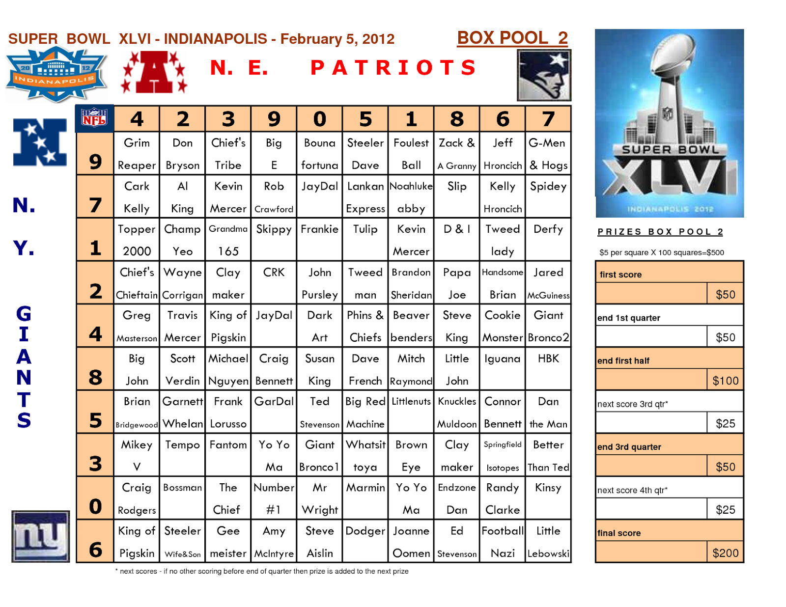 Super Bowl 2016 Pool Template | Search Results | Calendar 2015