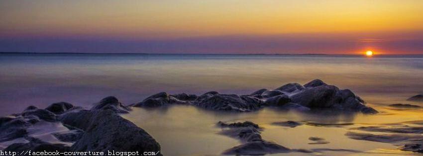 Couverture facebook mers avec coucher de soleil
