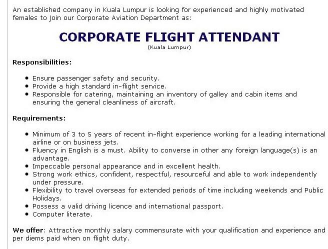 fly gosh  corporate flight attendant