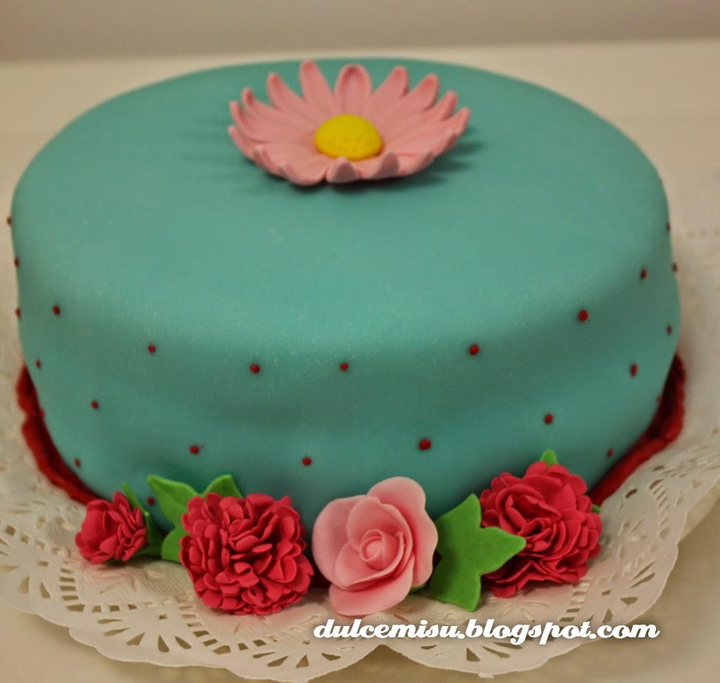 tarta, flores, gerbera, rosas, clavel, fondant, dulcemisu, reposteria creativa