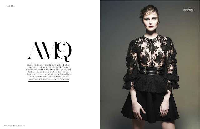Vasilisa Pavlova for Harrods Magazine, England. Alexander McQueen photoshoot