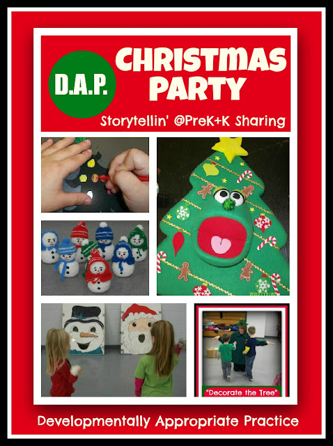 Developmentally Appropriate Christmas Party in Preschool via Storytellin' at PreK+K Sharing