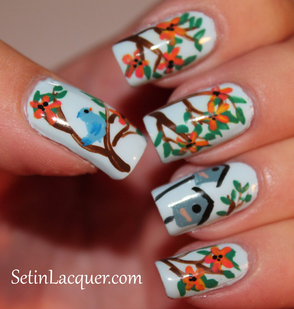 Floral Nail Art with birds and birdhouse - right hand