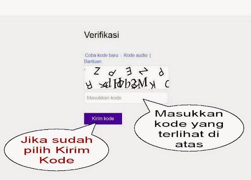 Gambar verifikasi kode saat daftar email yahoo
