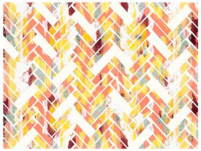 Cozamia, wild herringbone, pink, yellow, print