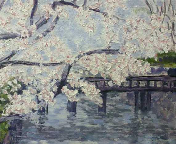detalle de cuadro al oleo de un cerezo japones en flor