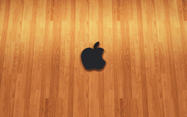 Holz Apple wallpaper mit logo