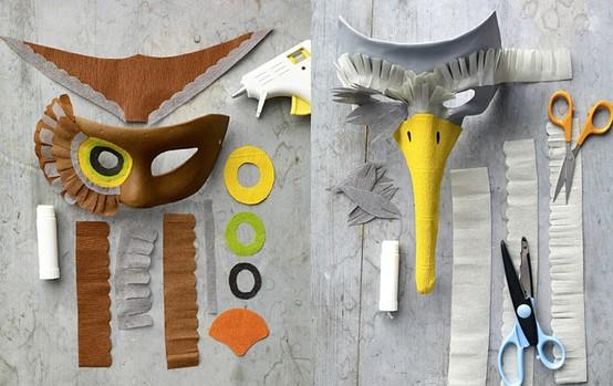 máscaras de pájaro hechas a mano