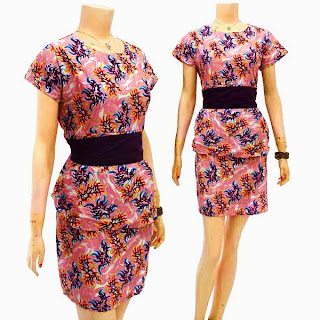 DB3218 Mode Baju Dress Batik Modern Terbaru 2013