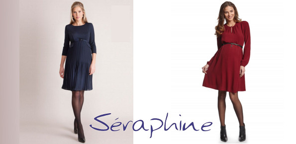 Princess Victoria's SERAPHINE Sophia Navy Pleated Dress SERAPHINE Woven Crepe Maternity Dress