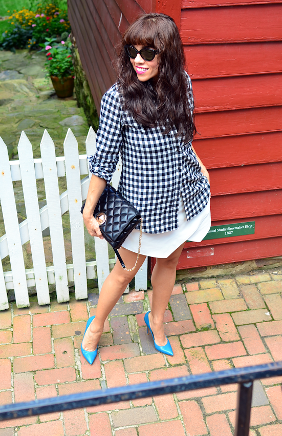 Outfit with gingham shirt