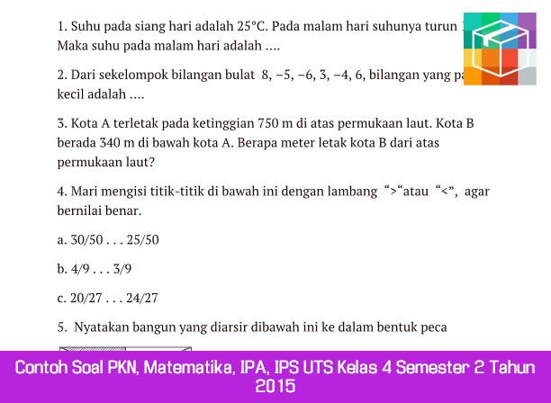 Contoh Soal PKN, Matematika, IPA, IPS UTS Kelas 4 Semester 2 Tahun 2015