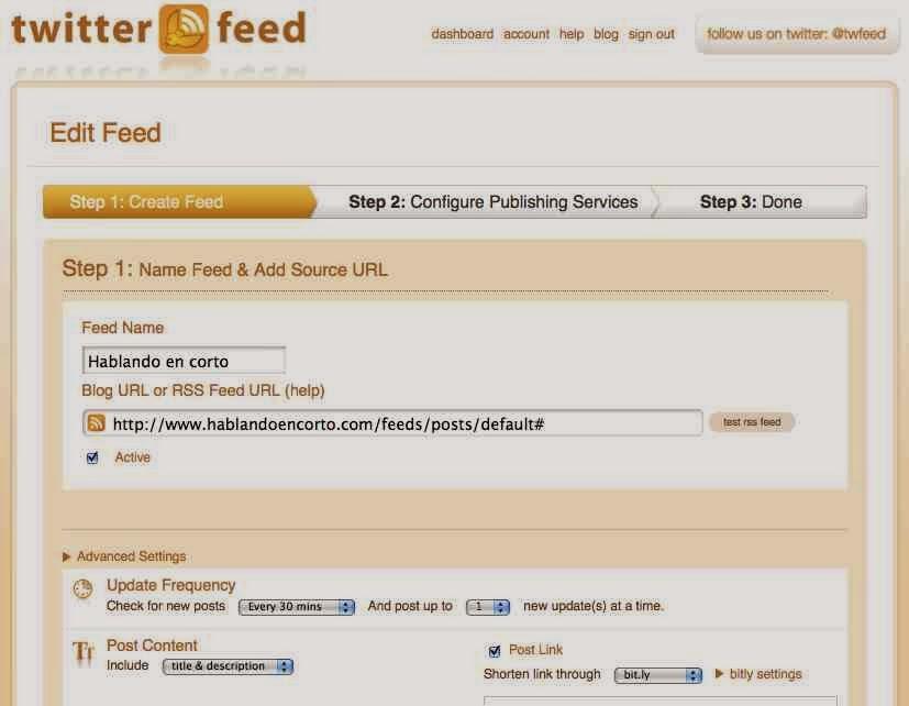 Automatizar actualizaciones en redes sociales con TwitterFeed
