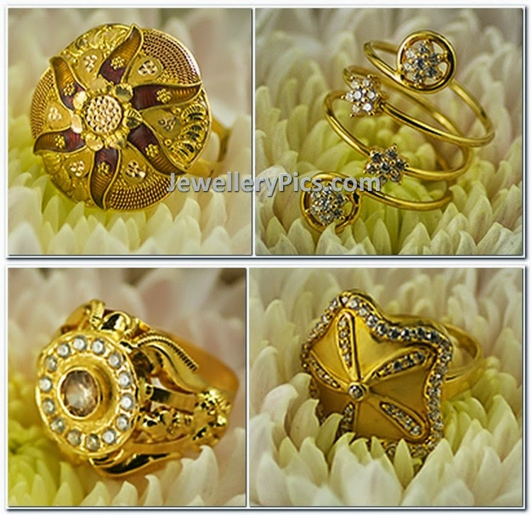 Contemporary gold rings