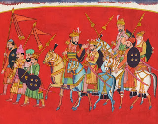 Sisupala with his retinue. Krishna's cousin Sisupala became his implacable enemy after the beautiful Rukmini, his intended wife, was abducted by Krishna with her own connivance. He was eventually killed by Krishna. Garhwal painting, eighteenth century.