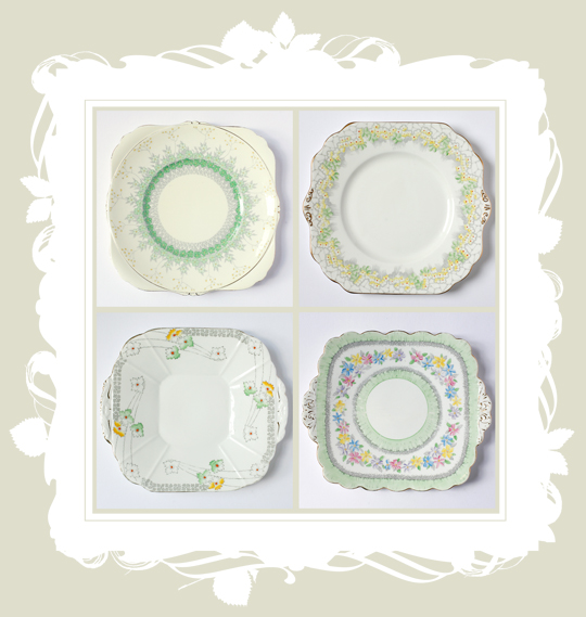 four pretty floral vintage dinner plates