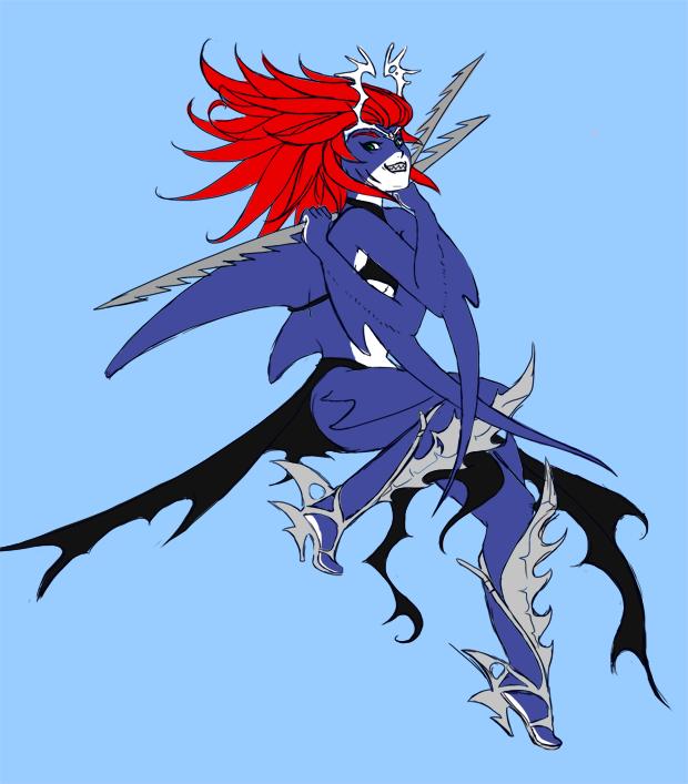 Personnage aux cheveux rouges mi-femme mi-requin, tenant des harpons dans ses mains