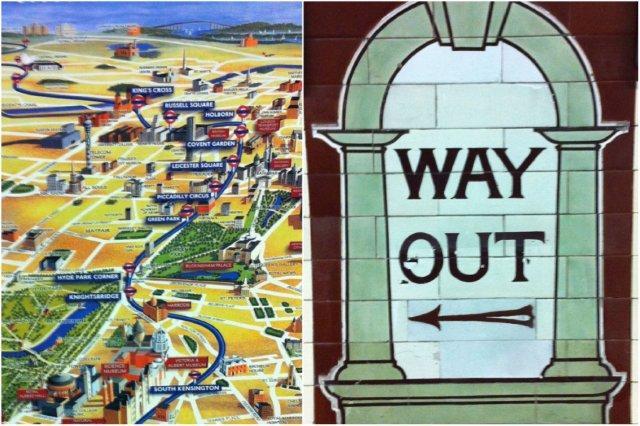 Mapa de la línea de metro Picadilly y monumentos de Londres, Picadilly line, London Underground – Letrero indicando la salida en estación de metro de Londres, Way Out