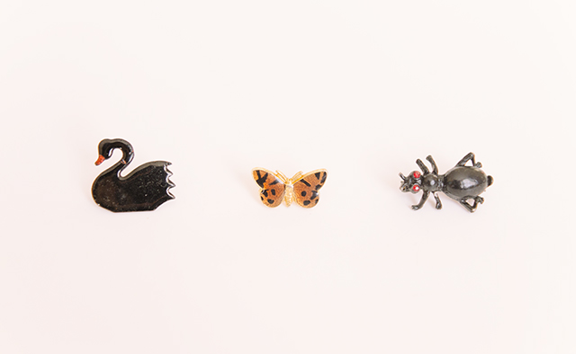 swan, butterfly and ant brooches