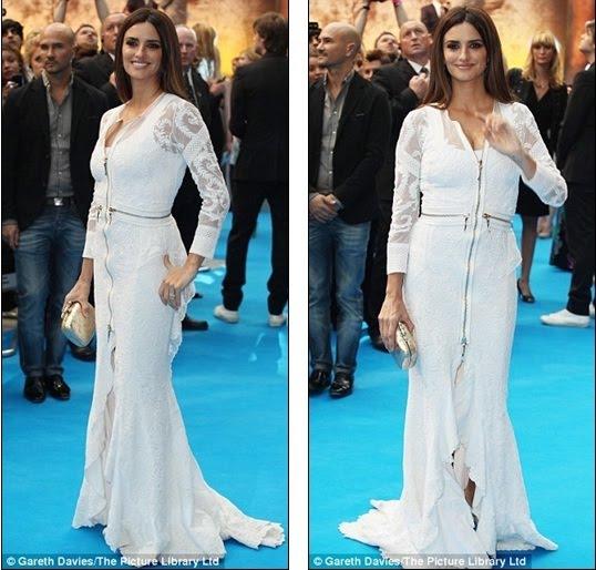 Very Kate Middleton! Penelope Cruz wears white lace to Pirates ...