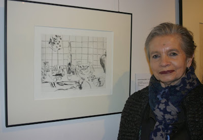 "Gisela Kurkhaus-Müller, ""Akt mit Krabbe"", Radierung 1979"