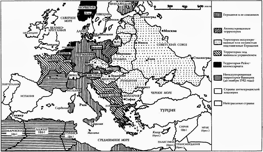 Европа на максимуме германской мощи (1942 год)