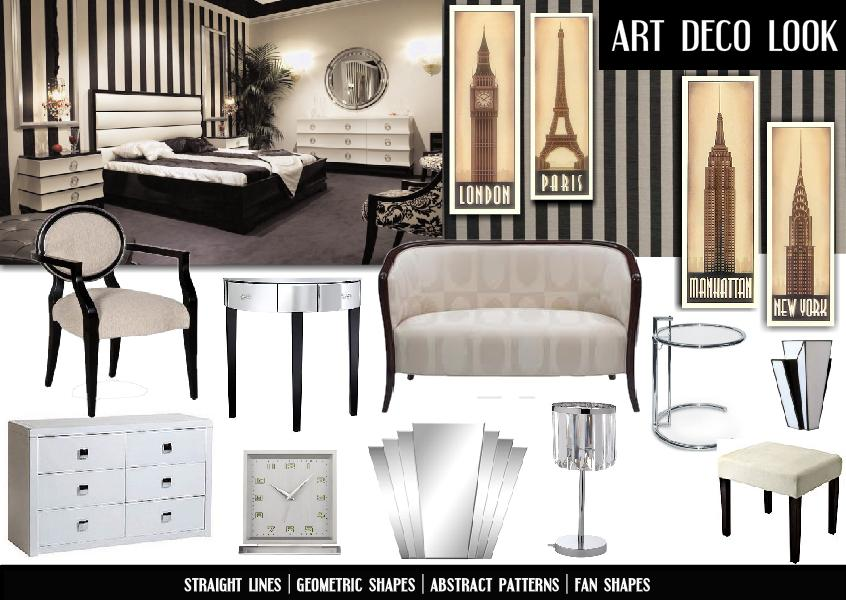 Moodboard inspiration interior design and decor art for Art deco home decoration