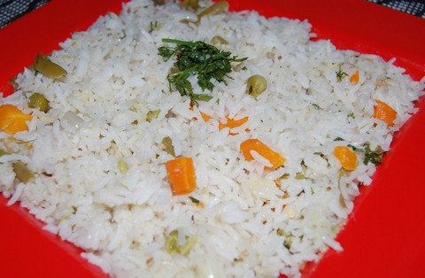 Buttery Basmati Rice with Carrots, Green Beans and Peas