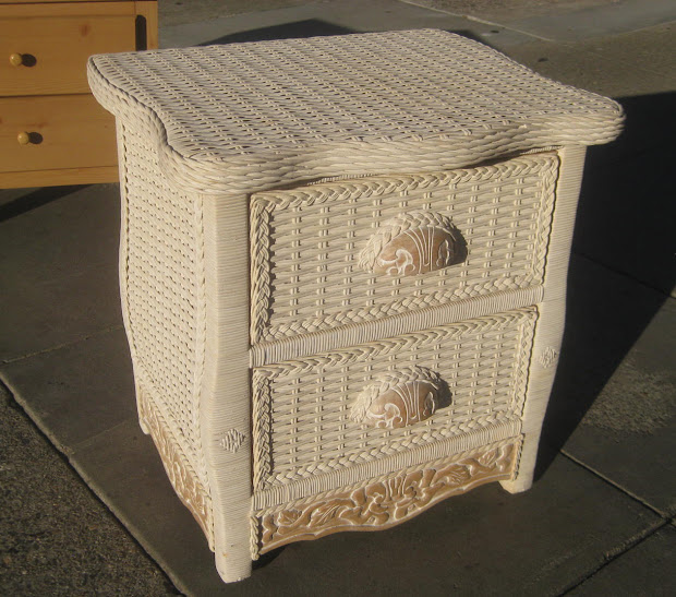 White Wicker Night Stand Tables
