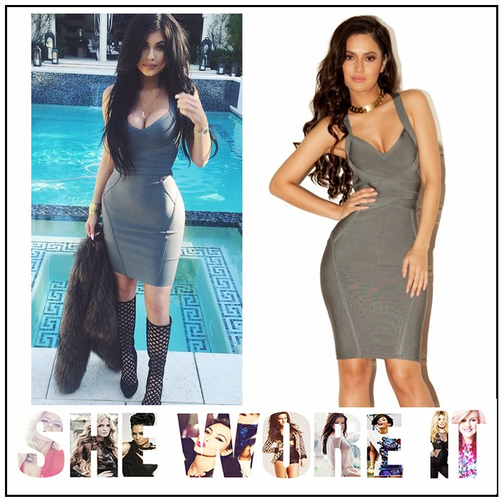 Back Detail, Bandage, Bodycon, Celebrity Style, Criss Cross Detail, Cross Over Straps, Deep V Neckline, Dress, House Of CB, Keeping up with the Kardashians, Kylie Jenner, Panels, Plunge Front, Sleeveless, Teal,