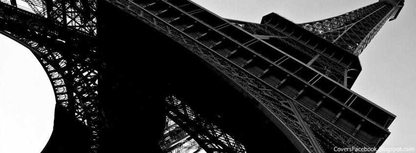 Dark Black Eiffel Tower Facebook Timeline Covers, FB Profile Cover